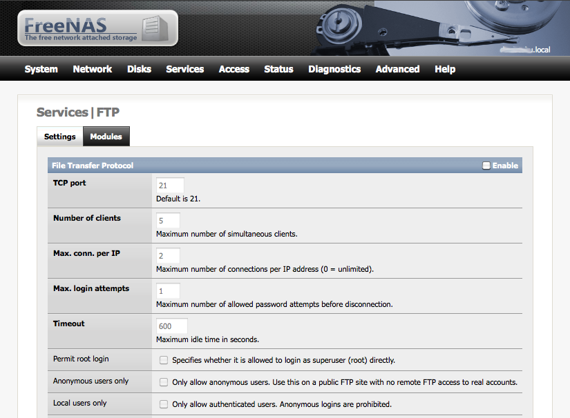 FTP i FreeNAS