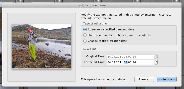 Edit Capture Time i Lightroom